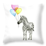 Baby Zebra Watercolor Animal With Balloons Throw Pillow
