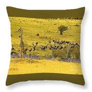 Zebra, Wildebeest And Giraffe Throw Pillow