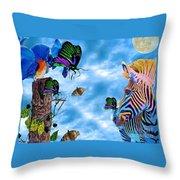 Zebras Birds And Butterflies Good Morning My Friends Throw Pillow