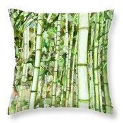 Zen Bamboo Forest Throw Pillow