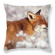 Zen Fox Series - Happy Fox IIn The Snow Throw Pillow