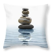 Zen Stones In Water Throw Pillow