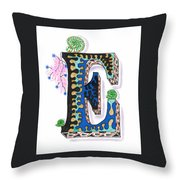 Zentangle Inspired E #3 Throw Pillow