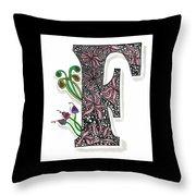 Zentangle Inspired F #1 Throw Pillow