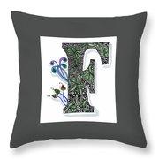 Zentangle Inspired F #3 Throw Pillow