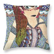 Zentangle Queen  Throw Pillow