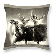 Ziegfeld Model  Dancers By Alfred Cheney Johnston Black And White Ballet Throw Pillow