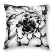 Zinnia Close Up In Black And White Throw Pillow