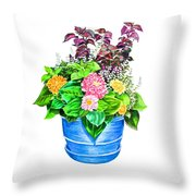 Zinnia Container Garden Throw Pillow
