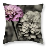 Zinnia Flower Pair Throw Pillow