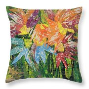 Zinnias Gone Mad Throw Pillow