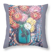 Zinnias In The Sun Throw Pillow