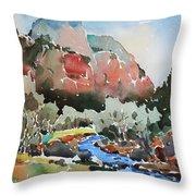 Zion Blue Stream Throw Pillow