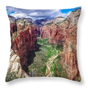 Zion Canyon From Angel's Landing Panoramic Throw Pillow by Scott McGuire