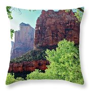 Zion Canyon Red Cliffs Throw Pillow