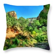 Zion In The Morning Throw Pillow