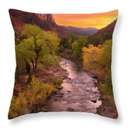 Zion National Park The Watchman Throw Pillow