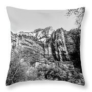 Zion National Park Utah Black White  Throw Pillow
