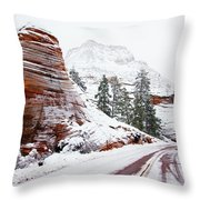 Zion Road In Winter Throw Pillow