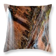 Zion Waterfall At Emerald Pools Throw Pillow