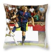 Zlatan Ibrahimovic In Action  Throw Pillow