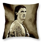 Zlatan Ibrahimovic Sepia Throw Pillow