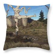 Zombie Near The Ruins Throw Pillow