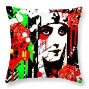 Zombie Queen Roses Throw Pillow