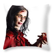 Zombie Shaking Severed Hand Throw Pillow