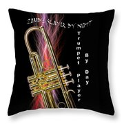 Zombie Slayer By Day Trumpet Player By Day Throw Pillow