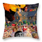 Zombie Snowmen Christmas Throw Pillow by Barry Kite