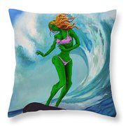Zombie Surf Goddess Throw Pillow