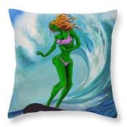 Zombie Surf Goddess Throw Pillow