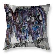 Zombie Trio Throw Pillow