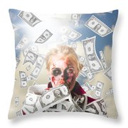Zombie With Crazy Money. Filthy Rich Millionaire Throw Pillow