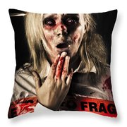 Zombie Woman Expressing Fear And Shock When Waking Throw Pillow