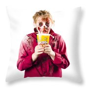 Zombie Woman With Popcorn Throw Pillow