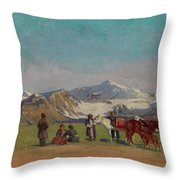 Zommer, Richard 1866-1939 In The Mountains Of Alatau Throw Pillow