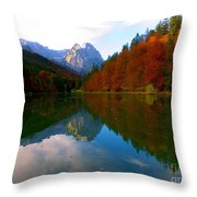 Zugspitz And Riessersee Garmish Germany Throw Pillow