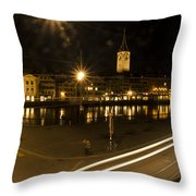 Zurich At Night Throw Pillow