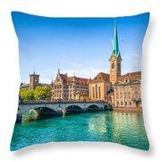 Zurich City Center Throw Pillow