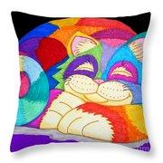 Zzzzzzzzzz Cat 3 Throw Pillow by Nick Gustafson
