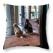 018 - Girl And Dog Throw Pillow
