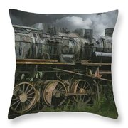 Abandoned Steam Locomotive  Throw Pillow