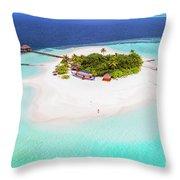 Aerial Drone View Of A Tropical Island, Maldives Throw Pillow