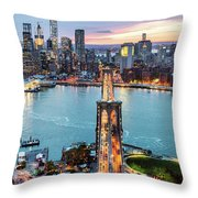 Aerial Of New York City  And Brooklyn Bridge At Dusk Throw Pillow
