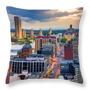 Aerial Panorama Of Albany, New York Throw Pillow by Mihai Andritoiu