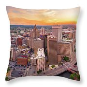 Aerial Panorama Of Providence, Rhode Island Throw Pillow by Mihai Andritoiu