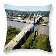 Aerial View Of Talmadge Bridge Throw Pillow