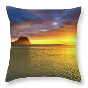 Amazing View Of Le Morne Brabant At Sunset.mauritius. Panorama Throw Pillow